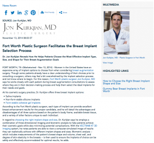 breast augmentation, Fort Worth plastic surgeon, form-stable cohesive gel implants, breast implant shape and size selection, VECTRA XY 3D imaging, Dr. Kurkjian