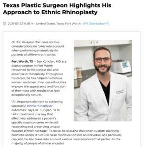 Dr. Jon Kurkjian discusses his approach to rhinoplasty for patients of Middle Eastern, Hispanic, Asian, and African American descent.